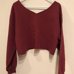 Fruit of the Loom Tops - Fruit of the Loom Burgundy Cropped Sweatshirt